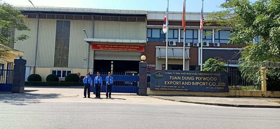 Triển khai dịch vụ bảo vệ chuyên nghiệp tại Công ty TNHH Xuất Nhập khẩu Tuấn Dung tại KCN Ninh Hiệp - Gia Lâm - Hà Nội.