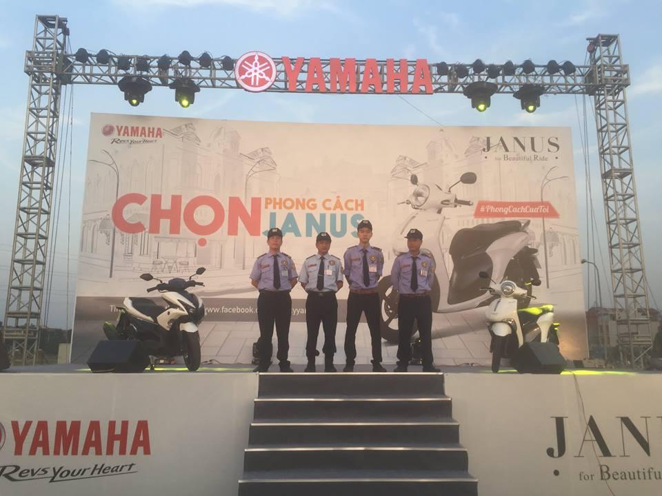 """Với đội ngũ cán bộ nhân viên chuyên nghiệp, nhiều kinh nghiệm Công ty TNHH DV Bảo Vệ AN VIÊN đã được Yamaha Việt Nam chọn làm đơn vị bảo vệ cho chương trình """"Giới thiệu, quảng cáo, chạy thử xe JANUS - YAMAHA tại Sóc Sơn - Hà Nội"""""""